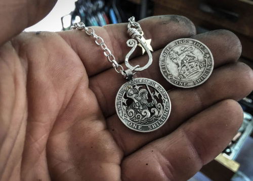 saint christopher necklace handmade and recycled silver coin