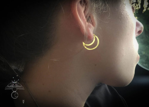 Moon earrings - Twinkling luminaries stud earrings handcrafted and recycled from a 100 year old silver shilling.