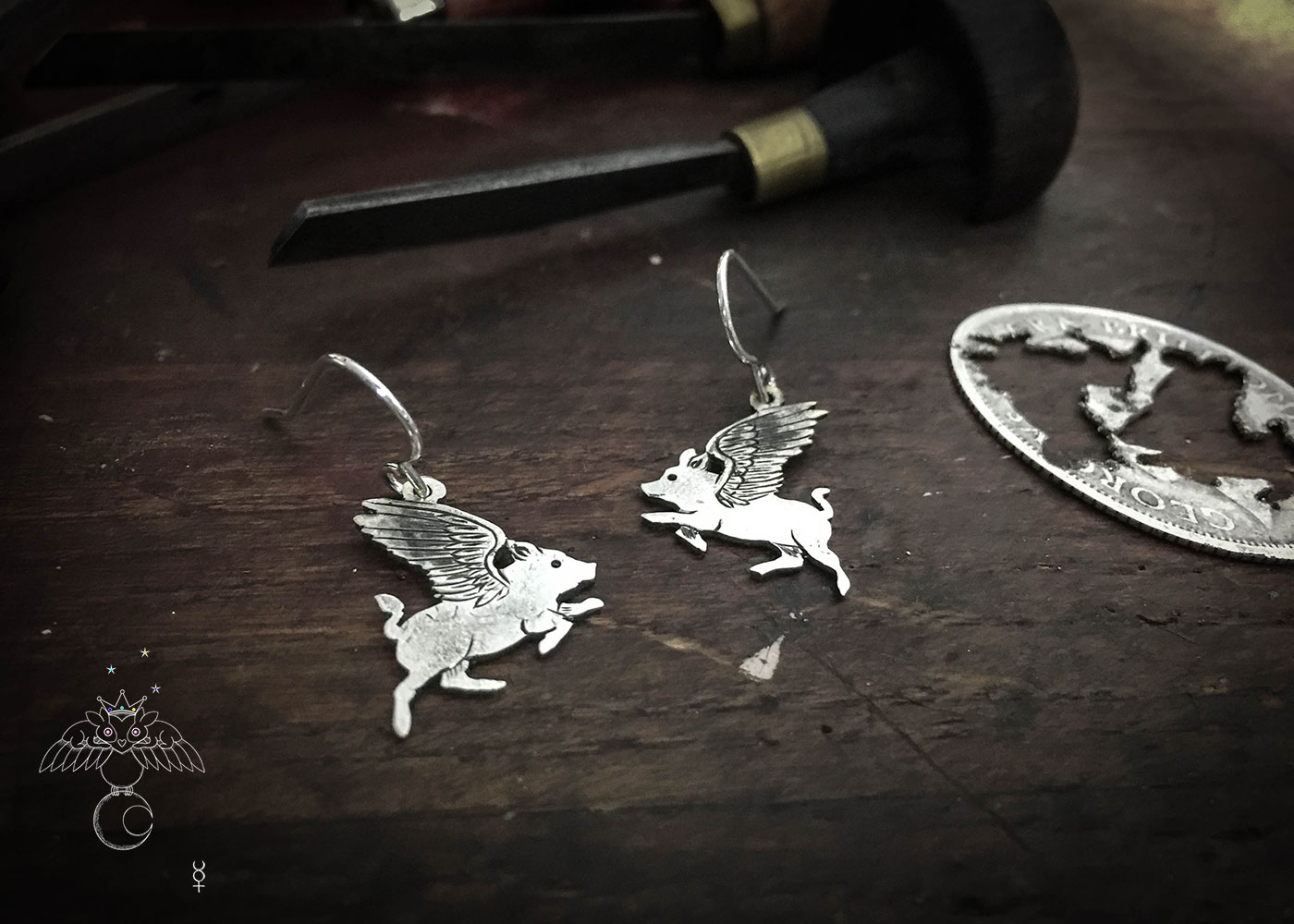 Flying pig earrings - Recycled silver shilling coin