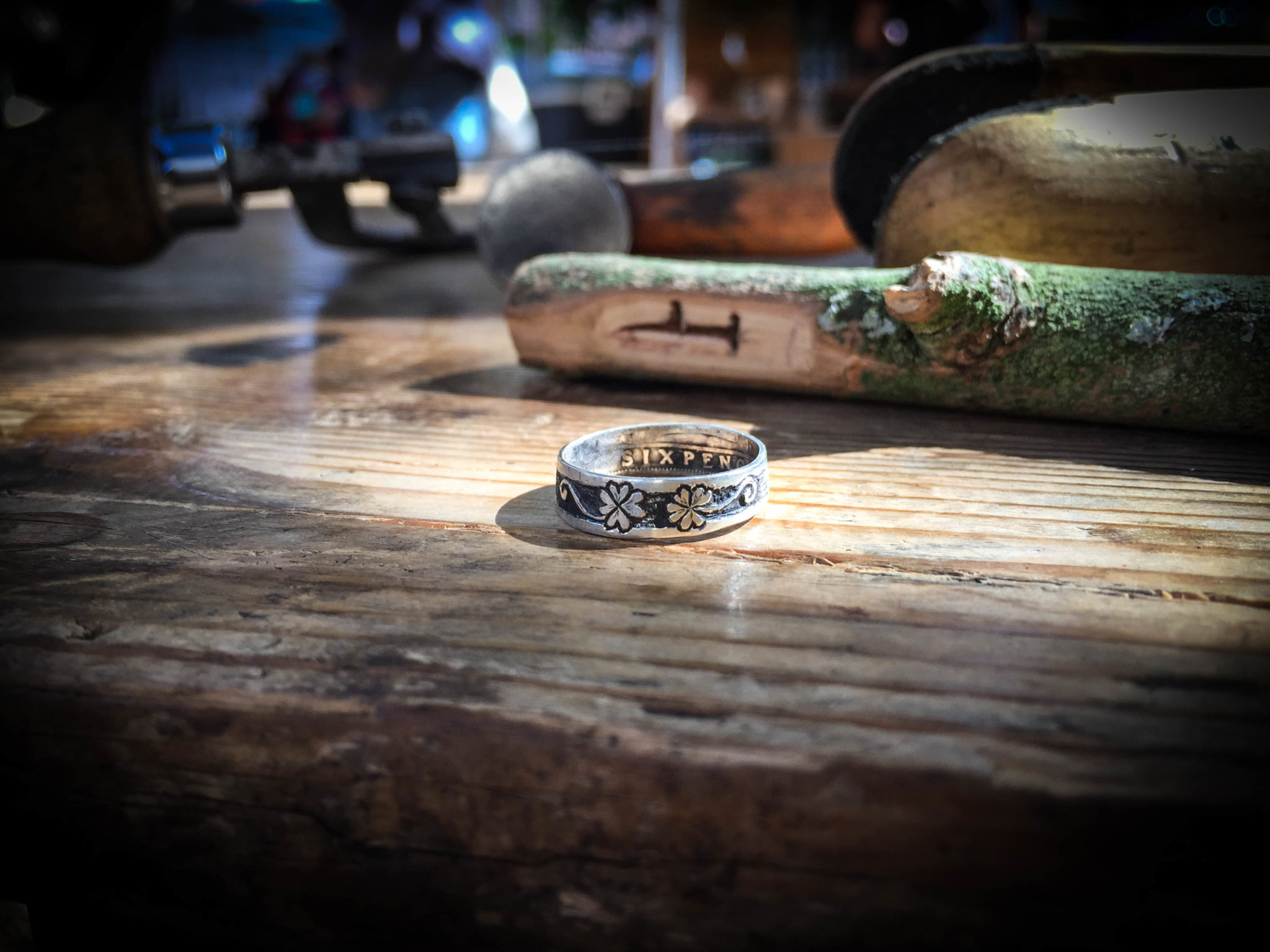 The goodluck silver coin rings