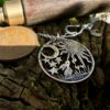 Ostara equinox necklace pendant handmade and recycled penny coin