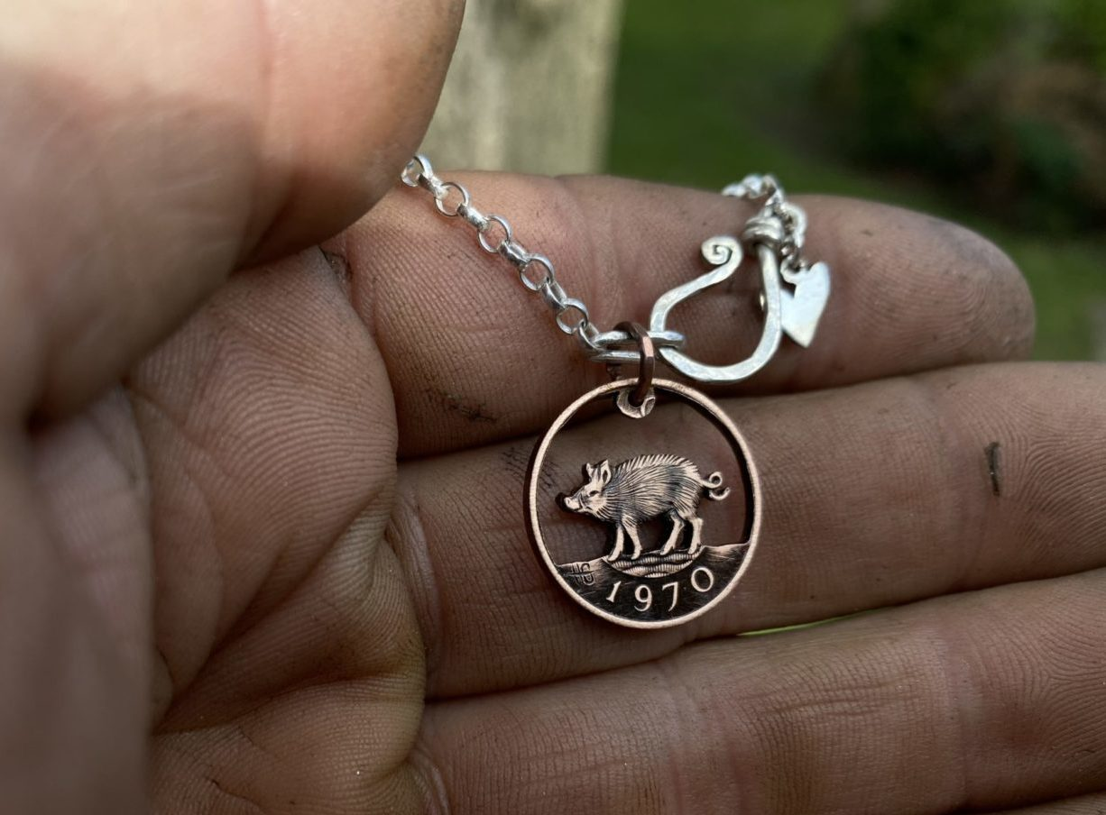Wild Boar coin necklace - handmade and recycled little 1970's coin