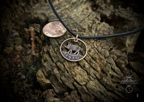 birthday boar coin necklace