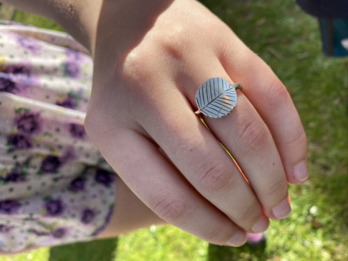 Alder leaf ring handcrafted and repurposed silver shilling rowan leaf ring