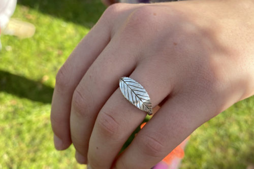 ash tree of life ogham rune ring handmade and recycled silver coin