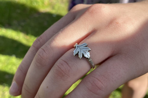 may tree hawthorn leaf ring handmade and recycled silver coin