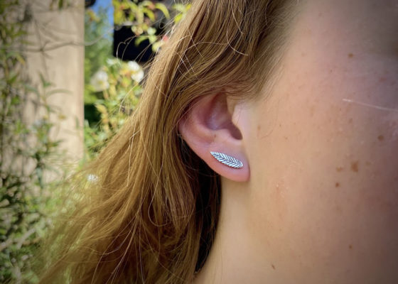 rowan leaf stud earring handcrafted and recycled silver coins