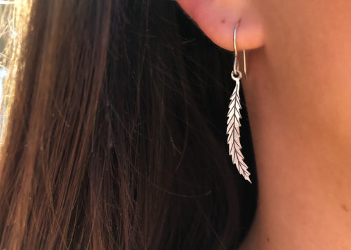 Willow Tree jewellery - Willow leaf earrings handcrafted and recycled from silver shillings.